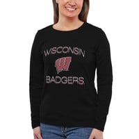 Wisconsin Badgers Women's Fade To Victory Long Sleeve T-Shirt – Black