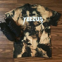 Yeezus'loose Leisure Print Gradient Color Round Neck Short Sleeve Top Red