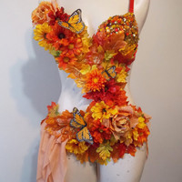Autumn Fairy, Rave Bra Custom Event Outfit, Rhinestone Clusters, Butterflies
