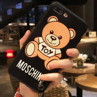 Moschino iphone6 mobile phone case hanging cord hanging neck iphone7plus full package creative bear female popular logo