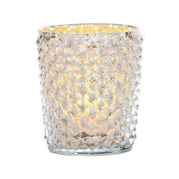 Vintage Mercury Glass Candle Holder (3-Inch, Zariah Design, Silver) - For Use with Tea Lights - For Home Decor, Parties, and Wedding Decorations