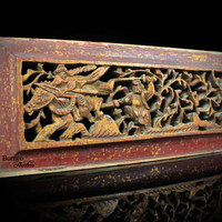 Chinese Carved Wood Panel 32x12CM Vintage Oriental Perforated Relief Figure/Horse/Foliage Panel, Wall Hanging,Asian Art #2