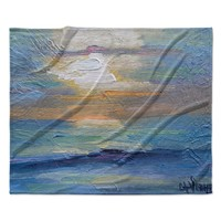 "Carol Schiff ""Ocean Sunset"" Blue Coastal Fleece Throw Blanket"