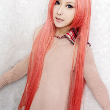 Touhou Project Hoan Meirin Popular 100cm Long Straight Synthetic Pink Cosplay Wig,Colorful Candy Colored synthetic Hair Extension Hair piece 1pcs WIG-018Q