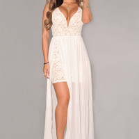 White Lace Plunging Neck Sleeveless Slit Mesh Maxi Dress