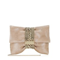 Sand Shimmer Luxury Suede Clutch Bag | Chandra | JIMMY CHOO Bags
