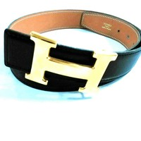 Auth HERMES Black Brown Gold Leather Hardware H Belt Circle X