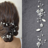 Floral hair vine, bridal hair vine, flower hair vine, wedding hair vine, crystal hair vine, bridal hair wreath, floral headpiece, hair vine