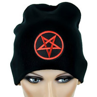 Woven Red Inverted Pentagram Beanie Occult Black Metal Cap