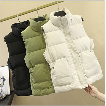 Explosive style hot selling temperament was thin stand-up collar tie thick down cotton short vest