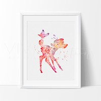 Bambi 2 Watercolor Art Print