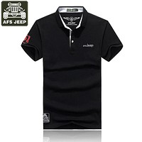 AFS JEEP 2017 Brand Polo Shirt Men POLO Shirt Solid Slim Fit Breathable Polo Shirts Plus Size 3XL Embroidery Camisa Polo Homme