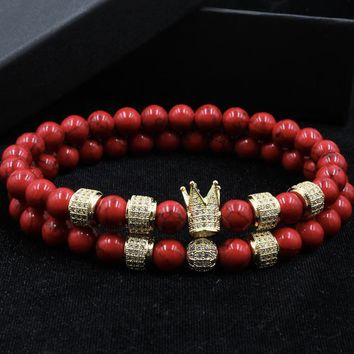 2Pc Crown Charm Bracelet