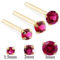 14K Real Gold (Nickel free) Long Customizable Nose Stud with Round Ruby