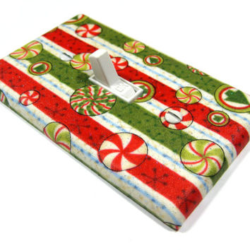 Christmas Candy Pinstripe Holiday Decor Christmas Decoration Light Switch Cover Red Green White Stripes  1068