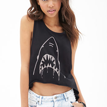 FOREVER 21 High-Low Shark Muscle Tank Black/Taupe