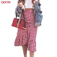 OOTN Gingham Summer Maxi Skirt Women Red White Plaid Long Skirts Check Ruffled Skirt Female Autumn Party Street Style Cotton