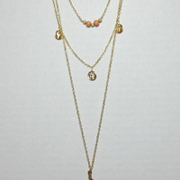 Long Layered Gold Feather Necklace Dainty Peach Gold Beads with Replica Roman Coins Triple Row Long Chain Jewelry