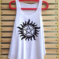 Supernatural Tattoo Shirt Series Movie  shirt vintage tank top singlet clothing vest tee tunic - size S M