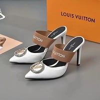 lv louis vuitton fashion trending leather women high heels shoes women sandals heel 101