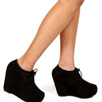 Black Laser Cut Out Booties