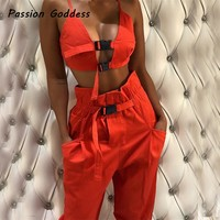 Fashion Cool Women 2 Piece Buckle Set Sexy Two Piece Bucle Hollow Out Camisole Tracksuit Drawstring Sweatpants High Waist Outfit