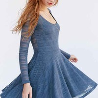 Kimchi Blue Long-Sleeve Pointelle Mini Dress