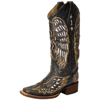 Corral Black/Gold/Silver Wings & Cross with Silver Inlay-13 Top Cowgirl Boots