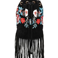 Fringed Embroidered Bucket Bag