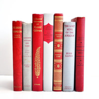 Vintage Red and Grey Book Collection - Valentines Decor