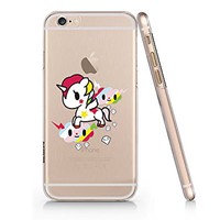 Birdbibishop- Unicorn and Cloud Hard Plastic Cover Phone Case for Iphone 6/6s Hot Trend Design Pattern (White)