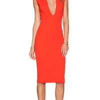 SOLACE London Grace Knee Length Dress in Red