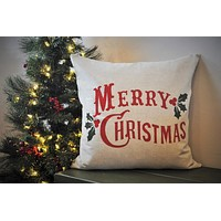 SALE, THIS WEEKEND only, Christmas pillow cover, Merry Christmas Pillow, Christmas decor, Vintage Christmas