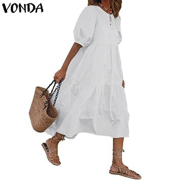 VONDA Summer Maxi Long Dress Plus Size Solid Color Lantern Sleeve Dresses Casual Party Sundress Loose Beach Vestidos Femme Robe