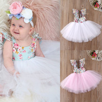 Christmas Fancy Kids Baby Girls Clothing Floral Dress Party Ball Gown Formal Flower Cute Girl Dresses
