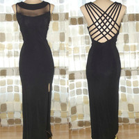 Vintage 80s 90s Sheer Neck Spiderweb Open Back Dress 11 /12 M/L Bombshell Formal Illusion Gown Body Con
