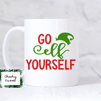 GO ELF YOURSELF  11 oz Coffee Mug / Jingle Bell / Christmas Mug / Christmas Gifts / Christmas Office Decor / Holiday Coffee Mugs