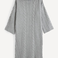 Light Gray Cable Knit Midi Sweater Dress