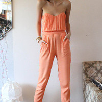 Peach Strapless Jumpsuit with Pleated Sweetheart Top