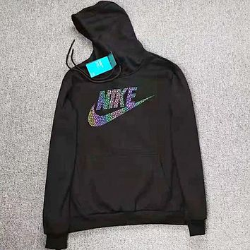 NIKE New fashion letter multicolor hook letter print hooded couple long sleeve top sweater Black