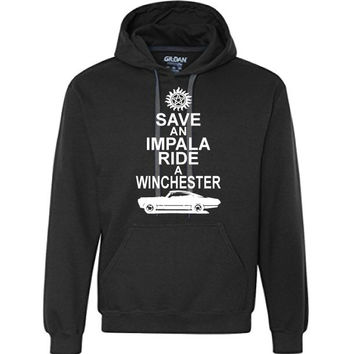 Save an Impala, Ride a Winchester Hooded Sweatshirt | Dean Winchester | Sam Winchester | Supernatural | Workout Shirt