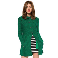 Solid Color Turn-Down Collar Cardigan