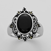 Silver Plated Onyx & Marcasite Oval Ring (Black)