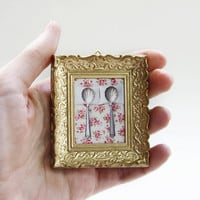 OOAK tiny Vintage Upcycled Miniature Gold Frame and by petekdesign