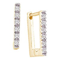10k Yellow Gold Round Diamond Rectangle Notched-post Hoop Earrings 1/20 Cttw