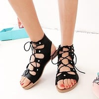 Cross Straps Flats Gladiator Sandals Women Shoes 8897