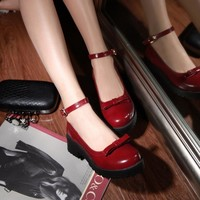 Autumn and Spring Bowtie Women Flats Shallow Mouth Round Toe Vintage Leather Women Shoes Platform Solid Lolita Shoes 34--43