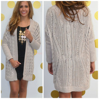 One More Time Taupe Oversized Cardigan