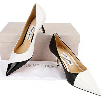 Jimmy Choo Women Sexy Stitching Color Princess Pointed High Heels Shoes White&Black