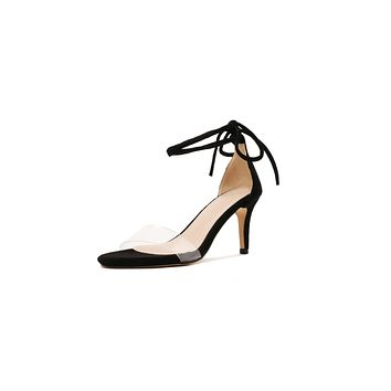 Women's Transparent Cross Strap Stiletto Heel Sandals